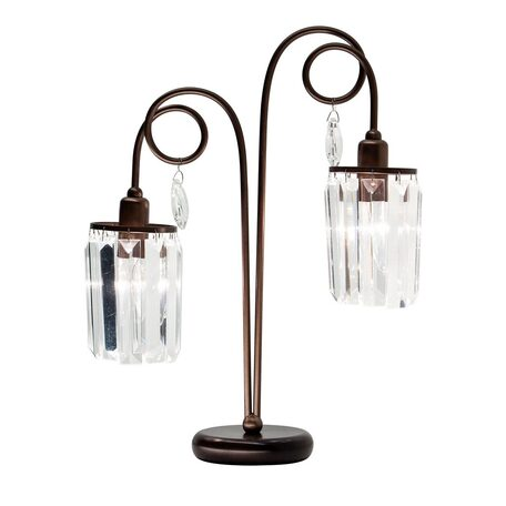 Настольная лампа Citilux Синди CL330823, 2xE14x60W, коричневый, прозрачный, металл, хрусталь