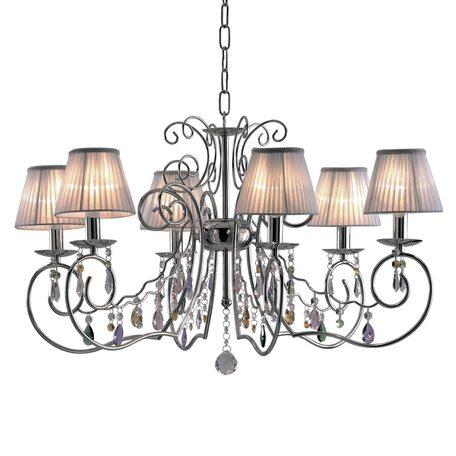 Основание подвесной люстры Citilux Фиона CL307161, 6xE14x60W, хром, серебро, разноцветный, металл, текстиль, хрусталь