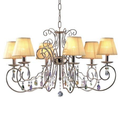 Основание подвесной люстры Citilux Фиона CL307162, 6xE14x60W, золото, бежевый, прозрачный, металл, текстиль, хрусталь