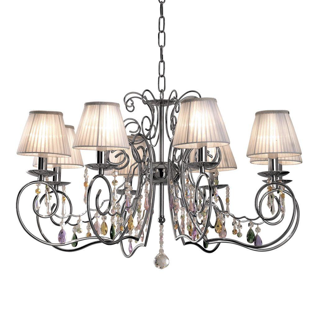 Основание подвесной люстры Citilux Фиона CL307181, 8xE14x60W, хром, белый, прозрачный, металл, текстиль, хрусталь - фото 1