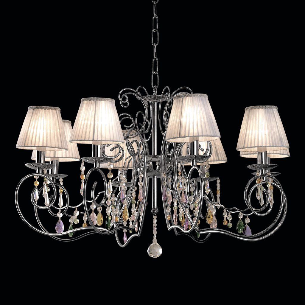Основание подвесной люстры Citilux Фиона CL307181, 8xE14x60W, хром, белый, прозрачный, металл, текстиль, хрусталь - фото 2