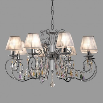 Основание подвесной люстры Citilux Фиона CL307181, 8xE14x60W, хром, белый, прозрачный, металл, текстиль, хрусталь - миниатюра 3