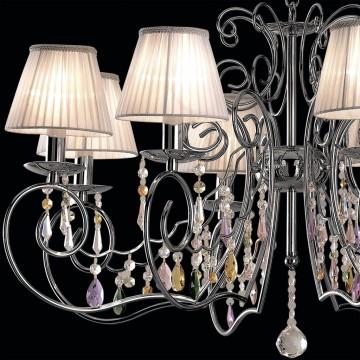 Основание подвесной люстры Citilux Фиона CL307181, 8xE14x60W, хром, белый, прозрачный, металл, текстиль, хрусталь - миниатюра 4