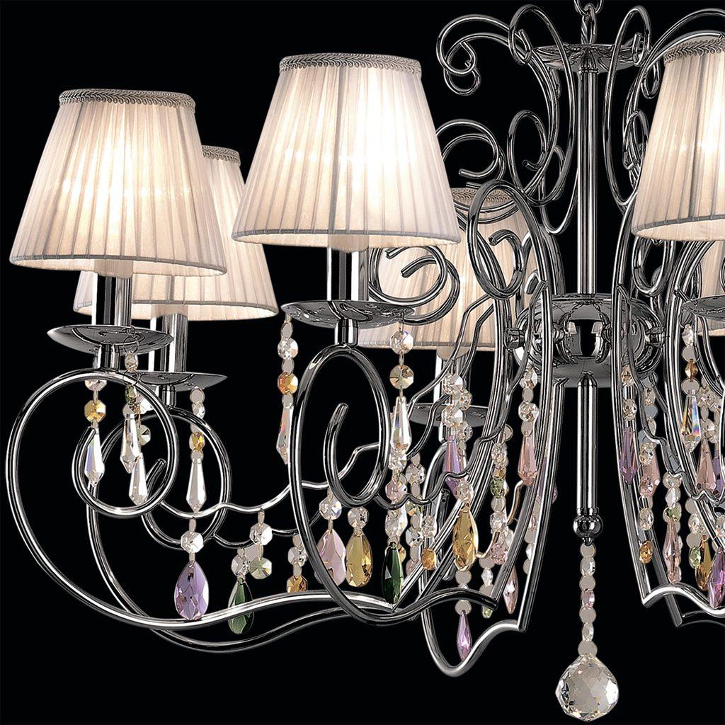 Основание подвесной люстры Citilux Фиона CL307181, 8xE14x60W, хром, белый, прозрачный, металл, текстиль, хрусталь - фото 4