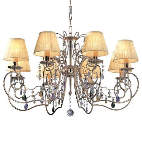 Основание подвесной люстры Citilux Фиона CL307182, 8xE14x60W, золото, бежевый, прозрачный, металл, текстиль, хрусталь