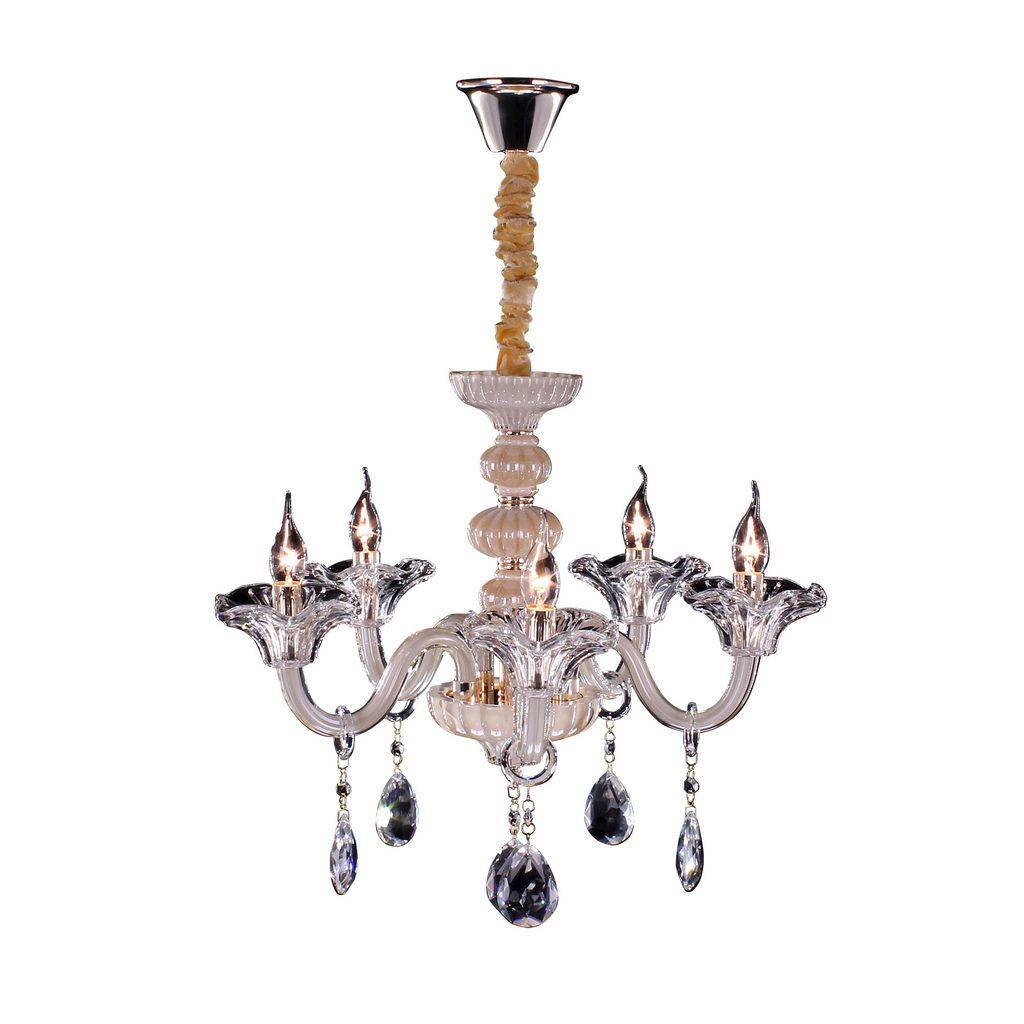 Подвесная люстра Citilux Ирида CL351151, 5xE14x60W, янтарь, прозрачный, стекло, хрусталь - фото 1