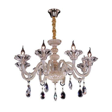 Подвесная люстра Citilux Ирида CL351181, 8xE14x60W, янтарь, прозрачный, стекло, хрусталь