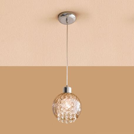 Подвесной светильник Citilux Бейт CL317111, 1xE27x60W, хром, прозрачный, металл, стекло, хрусталь
