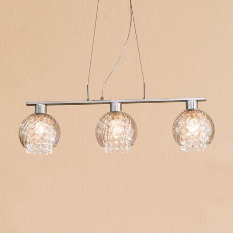 Подвесной светильник Citilux Бейт CL317231, 3xE27x60W, хром, прозрачный, металл, стекло, хрусталь