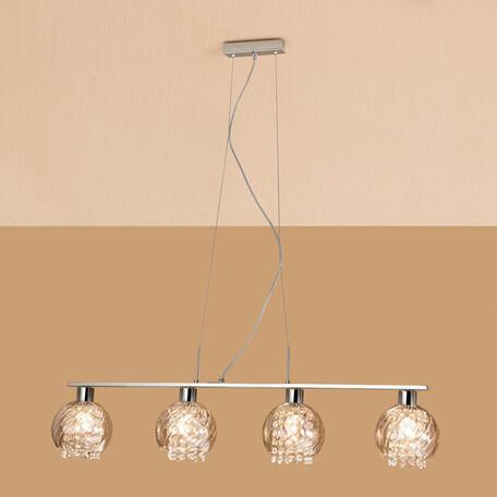 Подвесной светильник Citilux Бейт CL317241, 4xE27x60W, хром, прозрачный, металл, стекло, хрусталь