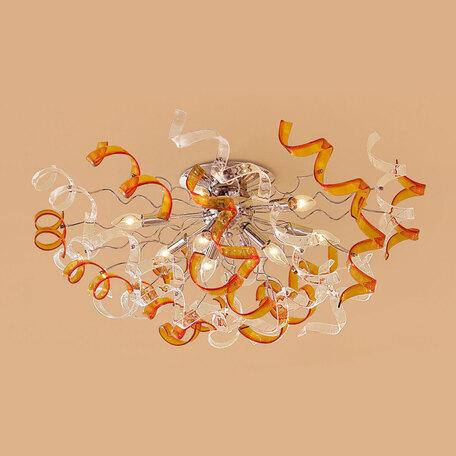 Потолочная люстра Citilux Рандом CL222192, 9xE14x60W, оранжевый, прозрачный, хром, металл, стекло - миниатюра 1