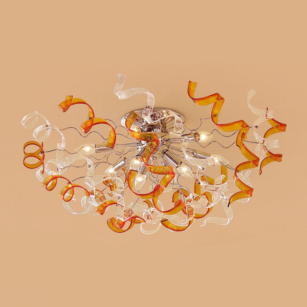 Потолочная люстра Citilux Рандом CL222192, 9xE14x60W, оранжевый, прозрачный, хром, металл, стекло - фото 1