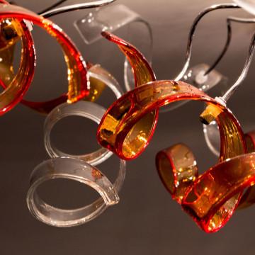 Потолочная люстра Citilux Рандом CL222192, 9xE14x60W, оранжевый, прозрачный, хром, металл, стекло - миниатюра 2