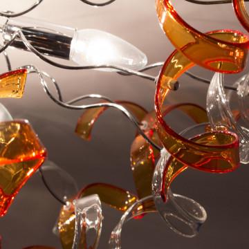 Потолочная люстра Citilux Рандом CL222192, 9xE14x60W, оранжевый, прозрачный, хром, металл, стекло - миниатюра 3
