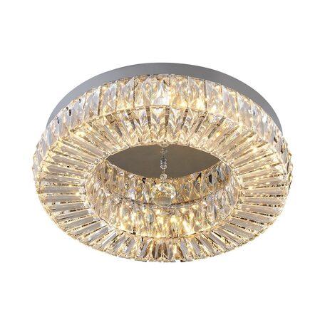 Потолочная светодиодная люстра Citilux Спектра CL320221, LED 56W 3000K 3640lm, хром, прозрачный, металл, пластик