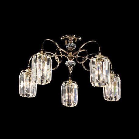 Потолочная люстра Citilux Синди CL330152, 5xE14x60W, золото, прозрачный, металл, хрусталь