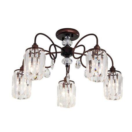 Потолочная люстра Citilux Синди CL330153, 5xE14x60W, коричневый, прозрачный, металл, хрусталь