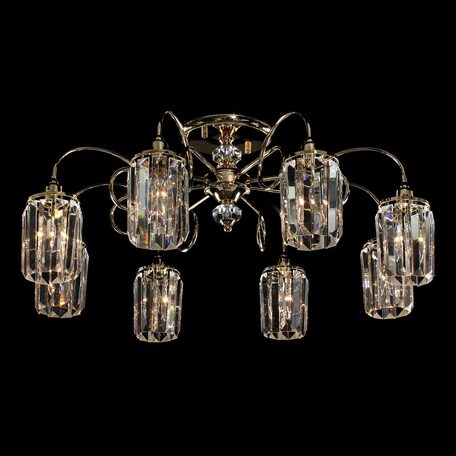 Потолочная люстра Citilux Синди CL330182, 8xE14x60W, золото, прозрачный, металл, хрусталь