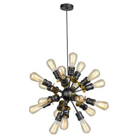 Подвесная люстра Lussole Loft Elmira LSP-8206, IP21, 18xE27x40W, черный, металл