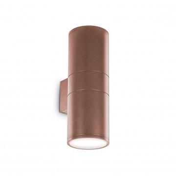 Настенный светильник Ideal Lux GUN AP2 BIG COFFEE 163611, IP54, 2xE27x60W, коричневый, металл, стекло