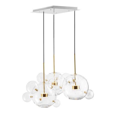 Подвесной светодиодный светильник Loft It Bolle 2027-S3, LED 30W, белый с золотом, прозрачный, металл, стекло