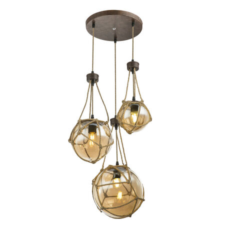 Подвесной светильник Globo Tiko 15859-3H, 1xE27x25W, металл, канат, стекло