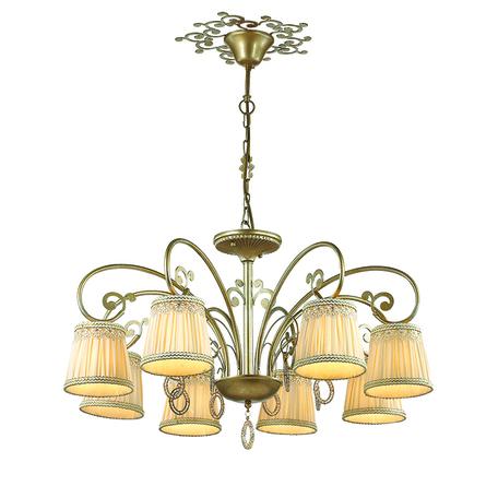 Подвесная люстра Odeon Light Obena 3463/8, 8xE14x40W, золото, бежевый, матовое золото, металл, текстиль, хрусталь