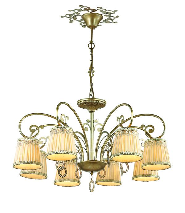 Подвесная люстра Odeon Light Classic Obena 3463/8, 8xE14x40W, матовое золото, бежевый, металл, текстиль, хрусталь - фото 1