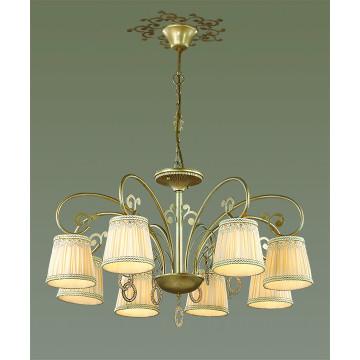 Подвесная люстра Odeon Light Classic Obena 3463/8, 8xE14x40W, матовое золото, бежевый, металл, текстиль, хрусталь - миниатюра 3