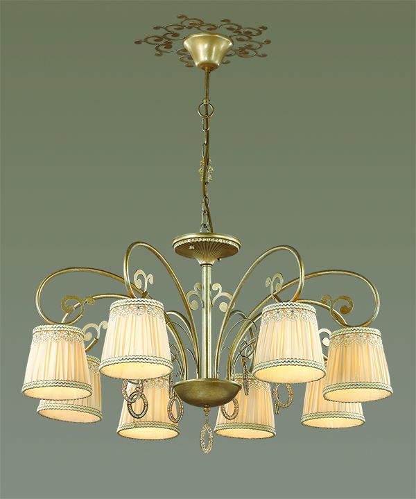 Подвесная люстра Odeon Light Classic Obena 3463/8, 8xE14x40W, матовое золото, бежевый, металл, текстиль, хрусталь - фото 3
