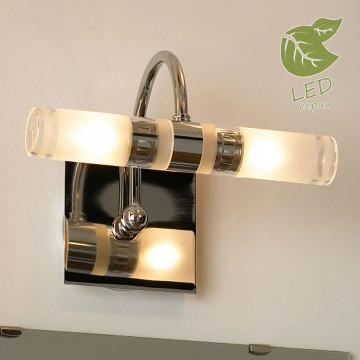 Настенный светильник Lussole Aqua GRLSL-5411-02, IP44, 2xG9x5W, хром, белый, металл, стекло
