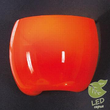 Настенный светильник Lussole Mela GRLSN-0211-01, IP21, 1xE14x6W, хром, оранжевый, металл, стекло
