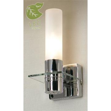 Настенный светильник Lussole Loft Liguria GRLSL-5901-01, IP44, 1xE14x6W, хром, белый, металл, стекло
