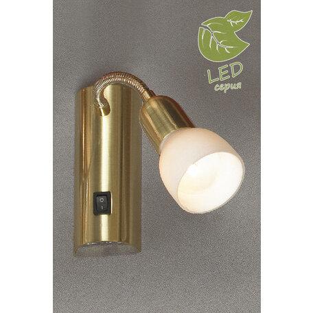 Настенный светильник Lussole Loft Barete GRLSL-7790-01, 1xE14x6W, матовое золото, белый, металл, стекло
