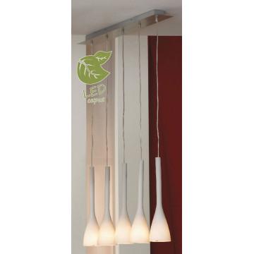 Подвесной светильник Lussole Loft Varmo GRLSN-0106-05, IP21, 5xE14x6W, никель, белый, металл, стекло