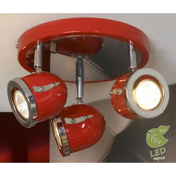 Потолочная люстра с регулировкой направления света Lussole Loft Tivoli GRLSN-3107-03, IP21, 3xGU10x5,5W, красный, металл