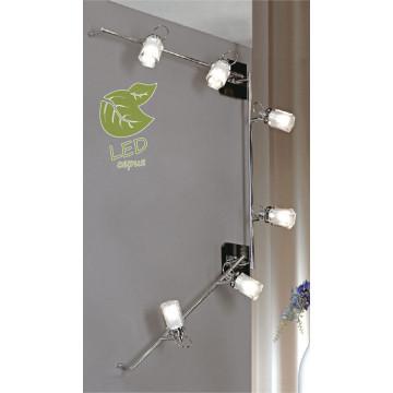 Потолочный светильник с регулировкой направления света Lussole Abruzzi GRLSL-7909-06, IP21, 6xG9x5W, черный, белый, металл с пластиком, стекло