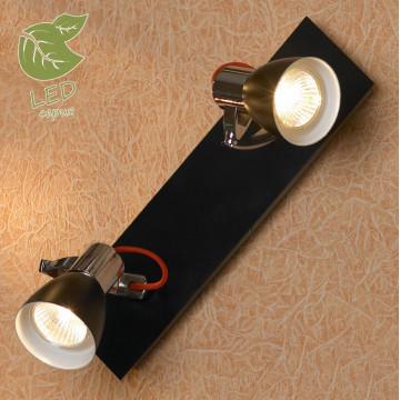 Потолочный светильник с регулировкой направления света Lussole Loft Frontino GRLSL-7401-02, IP21, 2xGU10x5,5W, красный, хром, черный, металл