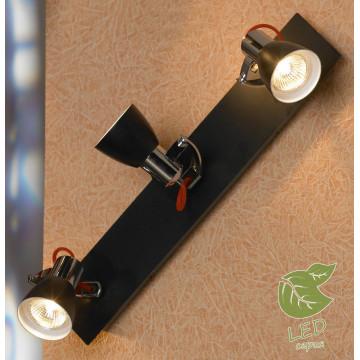Потолочный светильник с регулировкой направления света Lussole Loft Frontino GRLSL-7401-03, IP21, 3xGU10x5,5W, красный, хром, черный, металл