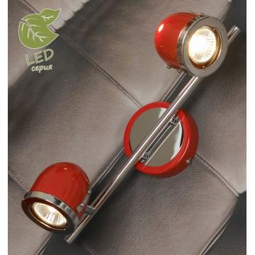 Потолочный светильник с регулировкой направления света Lussole Loft Tivoli GRLSN-3101-02, IP21, 2xGU10x5,5W, красный, металл