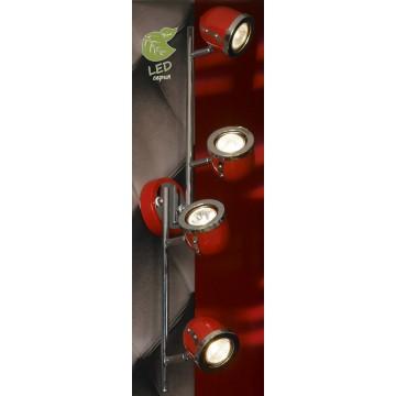 Потолочный светильник с регулировкой направления света Lussole Loft Tivoli GRLSN-3109-04, IP21, 4xGU10x5,5W, красный, металл