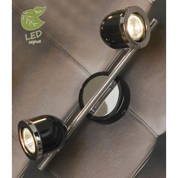 Потолочный светильник с регулировкой направления света Lussole Loft Tivoli GRLSN-3121-02, IP21, 2xGU10x5,5W, хром, черный, металл