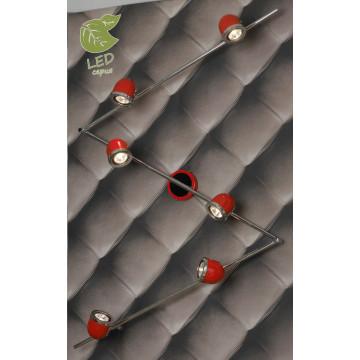 Потолочный светильник с регулировкой направления света Lussole Loft Tivoli GRLSN-3109-06, IP21, 6xGU10x5,5W, красный, металл