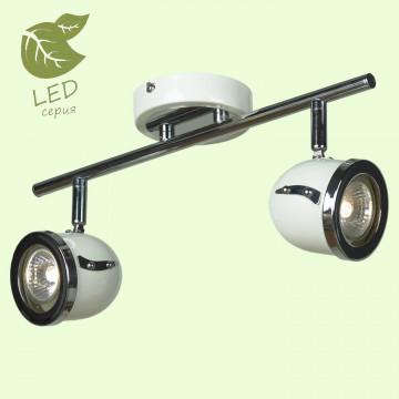 Потолочный светильник с регулировкой направления света Lussole Loft Tivoli GRLSN-3111-02, IP21, 2xGU10x5,5W, белый, хром, металл