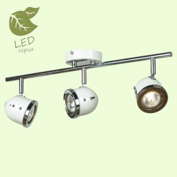 Потолочный светильник с регулировкой направления света Lussole Loft Tivoli GRLSN-3111-03, IP21, 3xGU10x5,5W, белый, хром, металл