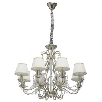 Подвесная люстра Chiaro Валенсия 299011608, серебро, белый, прозрачный, металл, текстиль, хрусталь