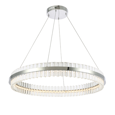 Подвесной светодиодный светильник ST Luce Cherio SL383.123.01, LED 60W 4000K 4680lm, хром, прозрачный, металл, металл с хрусталем