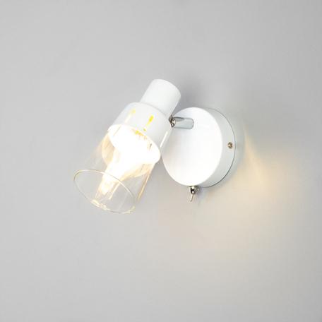 Настенный светильник с регулировкой направления света Eurosvet Potter 20081/1 белый, 1xE14x40W, белый, прозрачный, металл, стекло