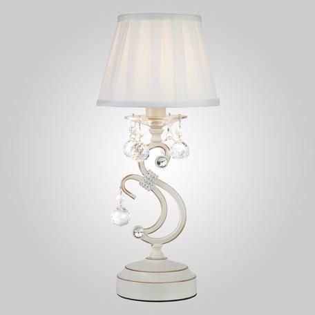 Настольная лампа Eurosvet Ivin 12075/1T белый Strotskis настольная лампа, 1xE14x40W, белый с золотой патиной, белый, прозрачный, металл, текстиль, хрусталь