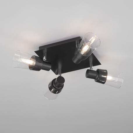 Потолочная люстра Eurosvet Potter 20081/4 черный, 4xE14x40W, черный, прозрачный, металл, стекло